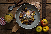 Kaiserschmarrn with apple sauce and sultanas