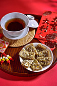 Walnut jelly candy and tea (China)