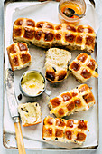 Hot Cross Buns with Raisins for Easter