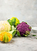 Purple, orange, white and green cauliflower