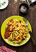 Cheese spaetzle with bacon