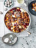 Magic hot cross bun pudding