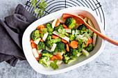 Steamed spring vegetables