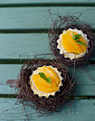 Orange tarts in Easter nests