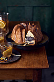 Kosonak with praline cream and salted caramel glaze (Eastern European cuisine)