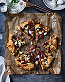 Grape galette with buffalo mozzarella