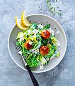 Meatballs and lemon-savoy vegetables