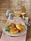 Potato strudel with sage and ham