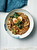 Miso ramen with mirin, mushrooms and marinated eggs