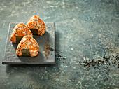Onigiri with carrots and umebashi