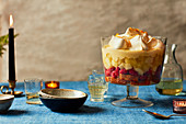 Apple, raspberry and whisky trifle
