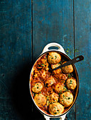 Chicken arrabbiata stew and parmesan dumplings