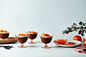 Choc mousse with candied mandarin