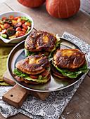 Pumpkin blini burger