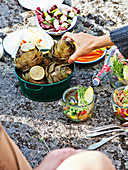 Artichokes with garlic dip