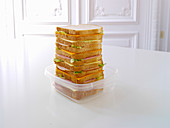 Sandwich stack in a lunch box
