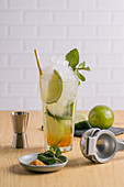 Mojito cocktail with ice and mint leaves