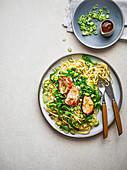 Sticky hoisin pork fillet with sesame, greens and noodles