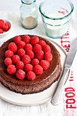 Baileys cheesecake with raspberries