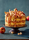 Apple cake with popcorn and caramel sauce