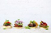 Burger toppings - Moroccan beef, Bacon cheeseburger, Pineapple beef teriyaki, Minty beef and beetroot