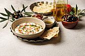 Iranian labneh with taftan bread and pomegranate