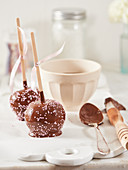 Candy apples dipped in chocolate