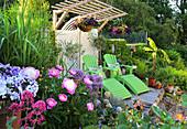 Terrassenbeet mit Pfingstrosen und Zierlauch neben Holzdeck mit grünen Liegen
