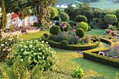 Blick auf Hanggarten mit Hortensie 'Annabelle' und Beete mit Buchshecken