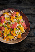 Bulgur salad with grapefruit and orange