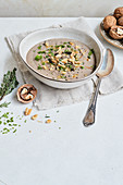 Cream of mushroom soup with chestnuts and walnuts