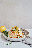 Vegan root vegetable ribbon noodles with cashew truffle sauce
