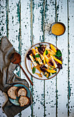 Mango and Paneer Salad with Radicchio and Shallots