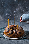 Bundt cake with candles