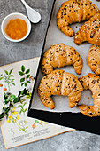 sesame croissants with mango jam
