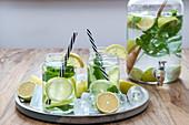 Homemade lemonade with fresh mint