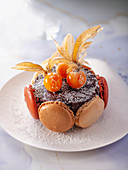 Fondant au chocolat with macarons and physalis