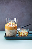 Chia seed pudding with apricot seeds