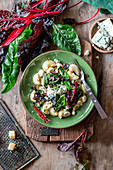Swiss chard pasta with blue cheese