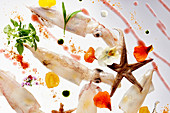 Squid with herbs and edible flowers