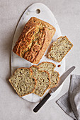 Pumpkin seed and chia bread with flax seeds and sesame seeds