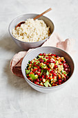 Oriental baba ganoush salad with pomegranate seeds