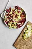 Brussels sprouts and radicchio salad with apples and almonds