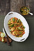 Salmon with pineapple and walnut salsa