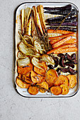 Colourful, oven-roasted root vegetables