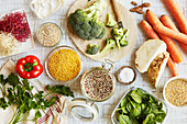 Healthy ingredients for vegetarian cuisine
