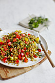 Lentil and pepper salad