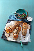 Hasselback pumpkin from the tray