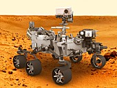 Perseverance rover on Mars surface, illustration