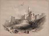 Citadel of Jerusalem, 19th century illustration